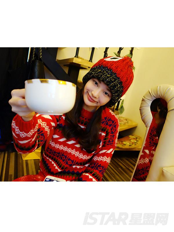 圣诞提花套头宽松长款毛衣