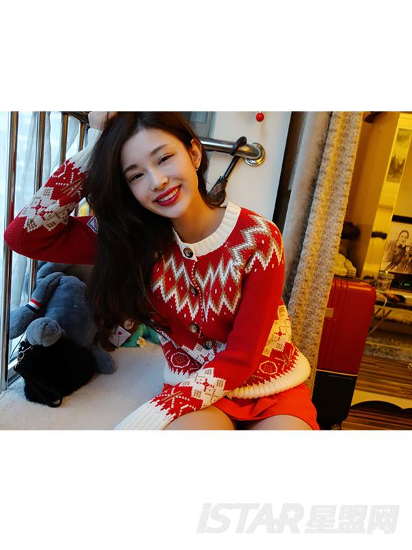 圣诞提花圆领针织开衫