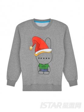 呆萌圣诞帽Xin星兔男女同款卫衣
