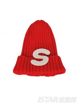 圣诞字母贴布毛线帽