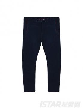 蓝色修身小脚休闲裤