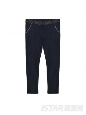 蓝色棉麻修身个性休闲裤