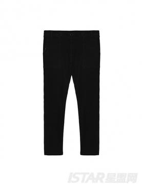 黑色锥形拼接时尚个性小脚裤