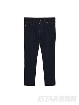 时尚个性直筒原色牛仔裤