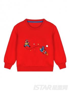儿童款定制长袖加绒趣味刺绣圆领卫衣
