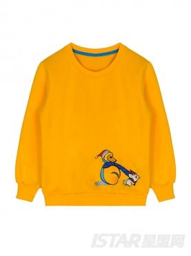 MR.HU儿童款定制长袖加绒趣味刺绣卫衣