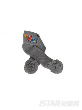 【票号款】趣味刺绣儿童拼接变色毛线帽围巾毛球球2件套