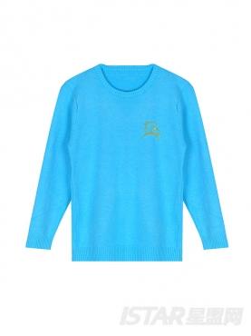 MR.HU亲子装天空蓝儿童圆领休闲时尚毛衣