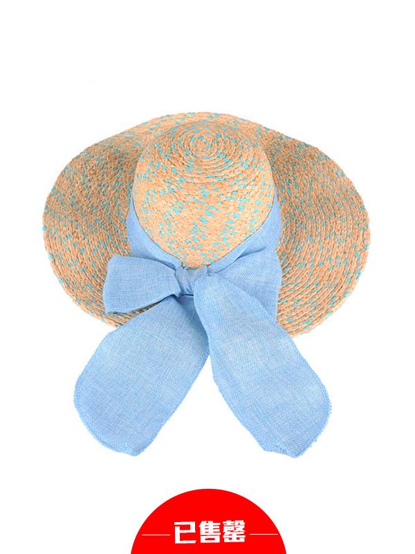 海洋度假风天蓝蝴蝶结草帽