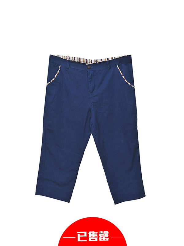拼接蓝色迷彩短裤