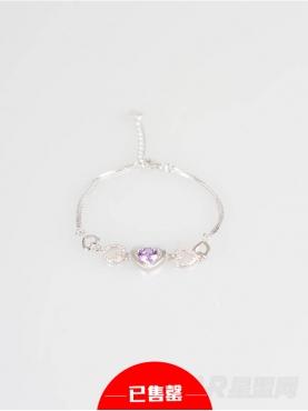 气质银甜美爱心紫钻手链