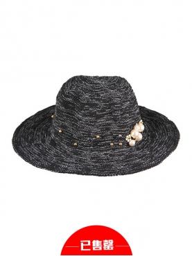 优雅范儿立体珍珠装饰宽边帽