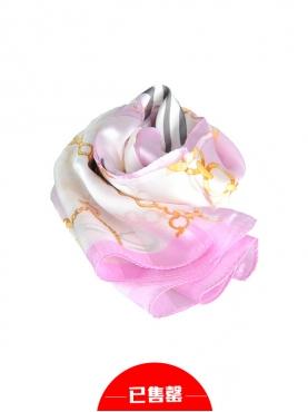 浪漫粉紫个性图案丝巾