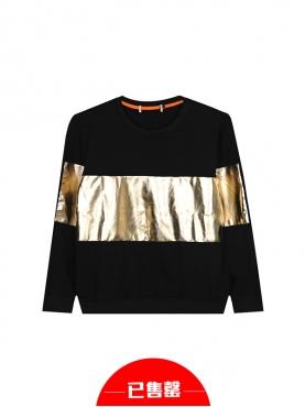 时尚潮流金属色彩拼接卫衣