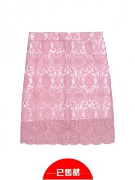 粉红蕾丝刺绣半身裙