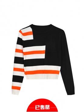 橙黑撞色条纹针织套装