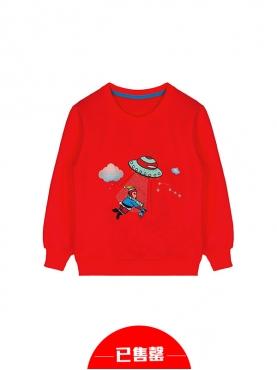 MR.HU儿童款热情红定制长袖加绒趣味刺绣印花卫衣