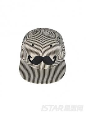 可爱小胡子印花时尚黑白色棒球帽
