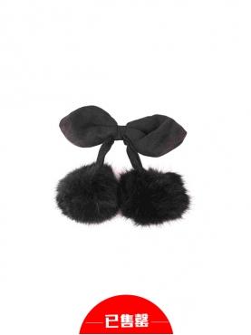 纯黑毛绒球球发饰