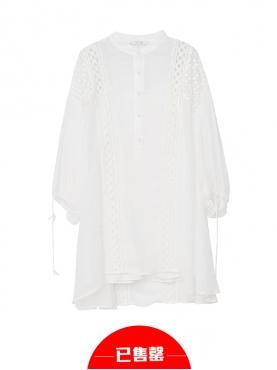 白色镂空透视连衣裙