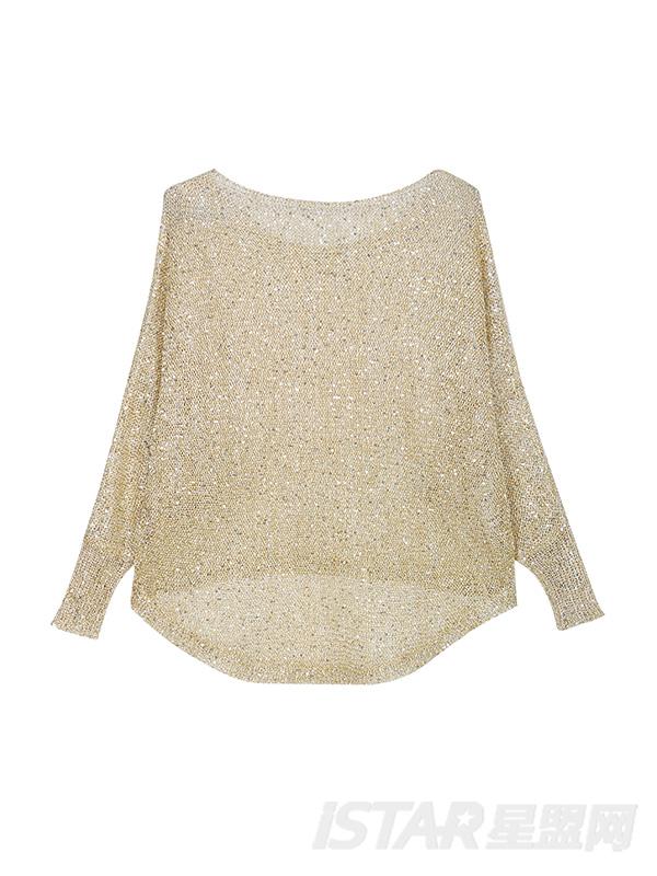 香槟金宽松金丝针织镂空蝙蝠衫