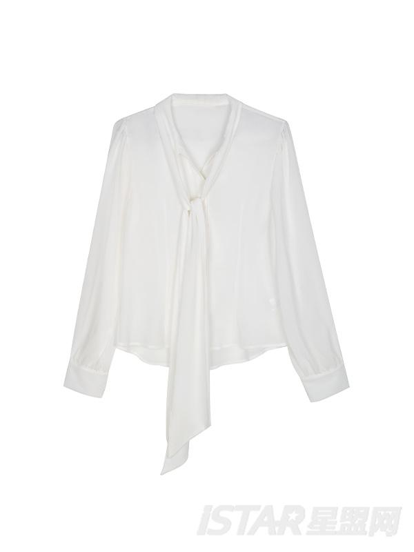 性感透视俏皮大蝴蝶领结装饰长袖衬衫