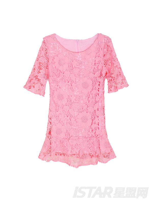 粉色荷叶边包臀蕾丝鱼尾裙