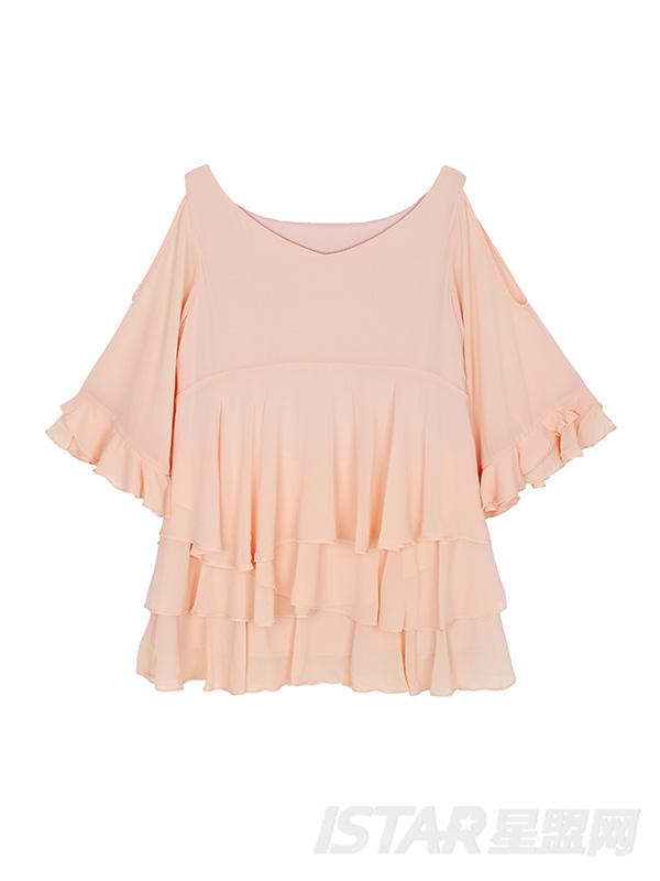 甜美粉色薄纱荷叶边蛋糕雪纺连衣裙