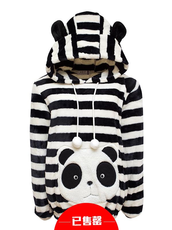 可爱熊猫加厚法兰绒睡衣家居服