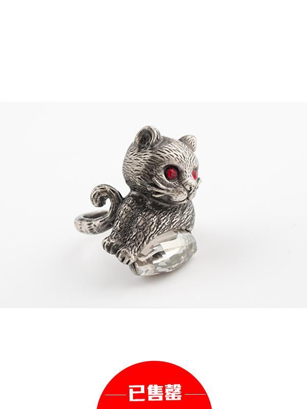复古立体猫猫戒指