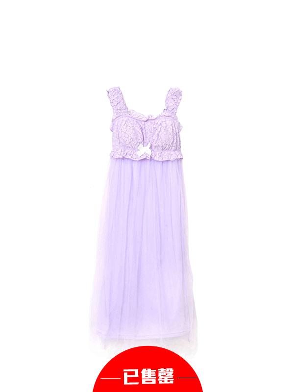 甜美荷叶领带胸垫睡裙
