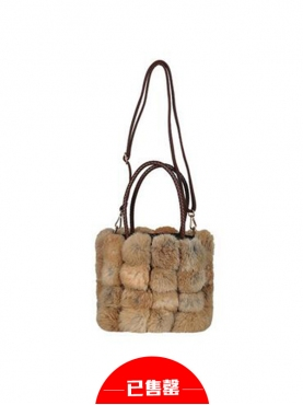 优雅兔毛皮草格水桶包