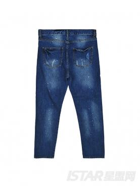 创意泼墨直筒休闲牛仔裤