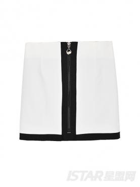 Miss No.5 高端定制白色竖条纹半身裙