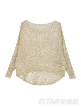 Mariri'z 香槟金宽松金丝针织镂空蝙蝠衫