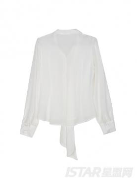 Mariri'z 性感透视俏皮大蝴蝶领结装饰长袖衬衫