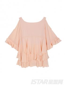 Mariri'z 甜美粉色薄纱荷叶边蛋糕雪纺连衣裙