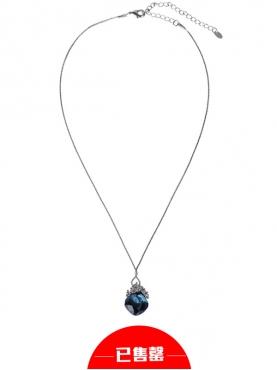 海蓝水钻切面圆形项链
