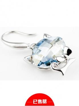 大脸猫白色水晶耳环