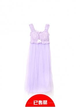 神秘紫荷叶边睡裙(带胸垫)