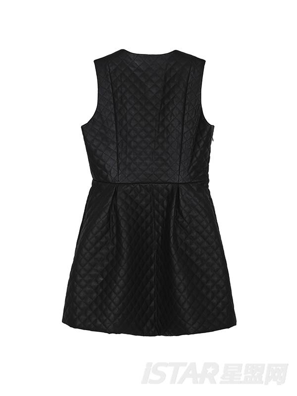 PU菱格連衣裙