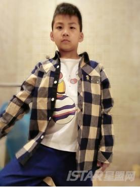 Mr Hu 儿童卡通猴子彩色格子休闲衬衫