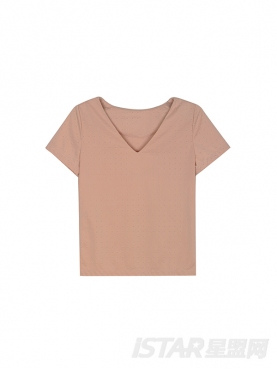 时尚鉚釘装饰V領纯色套装
