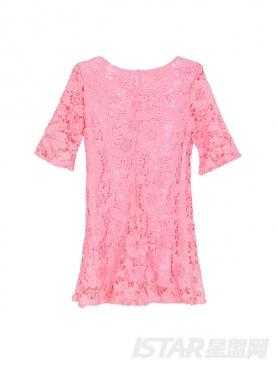 粉色荷叶边包臀蕾丝连衣裙