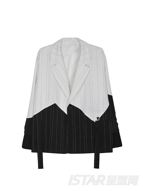 条纹黑白拼接西装