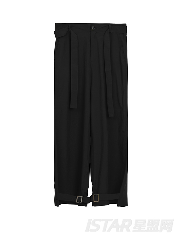超薄黑色飘带卡扣裤子