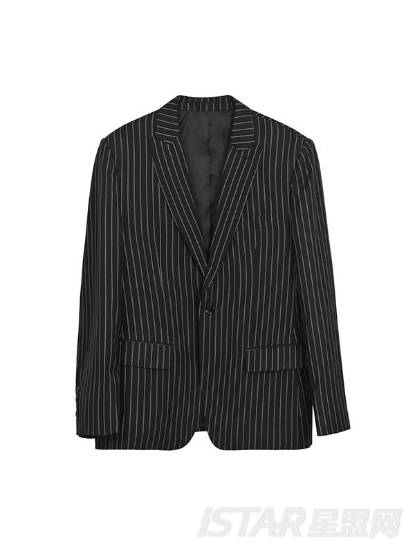 条纹单扣西装套装