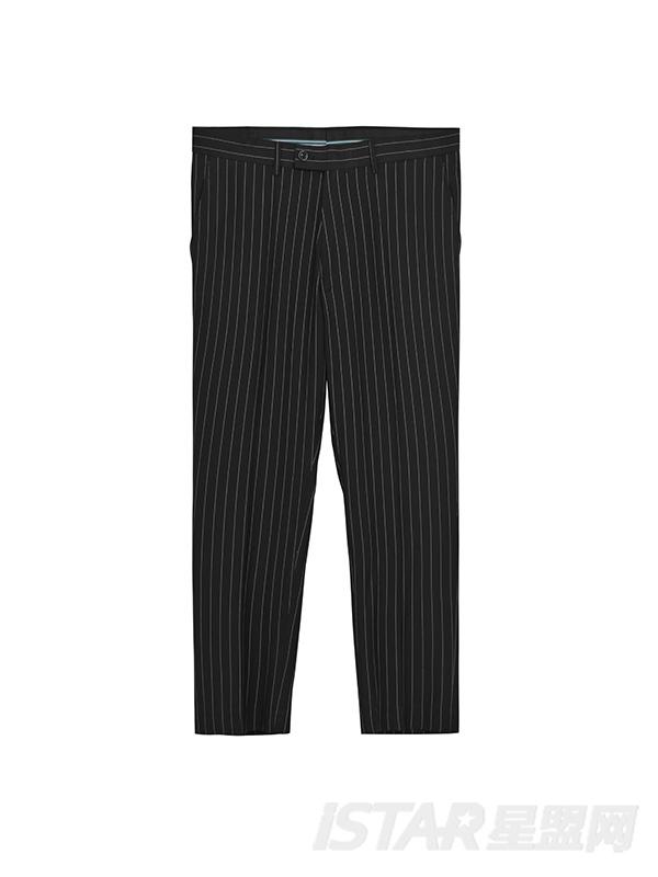 条纹长裤套装西装