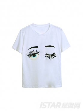 趣味眼睛图案休闲T恤