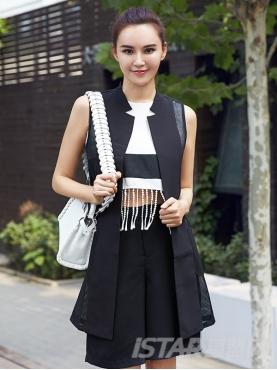 黑白拼接流苏设计背心短裤套装